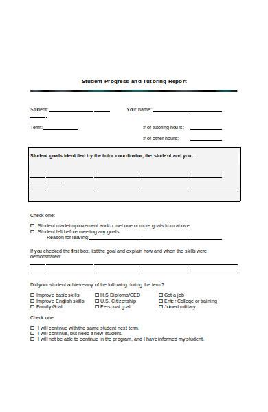 student progress tutoring report form