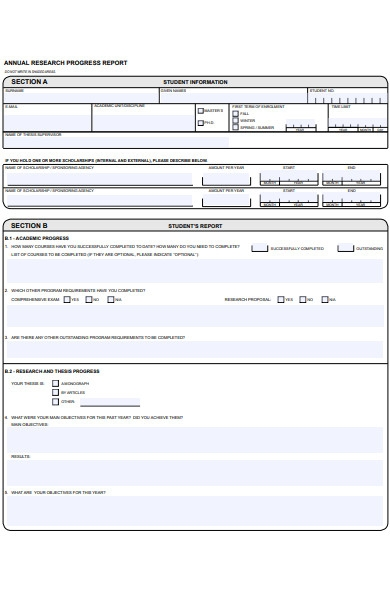 student research progress report form