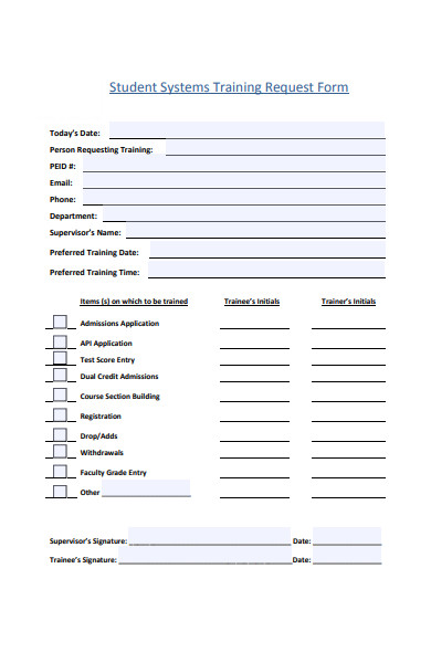 student system training request form