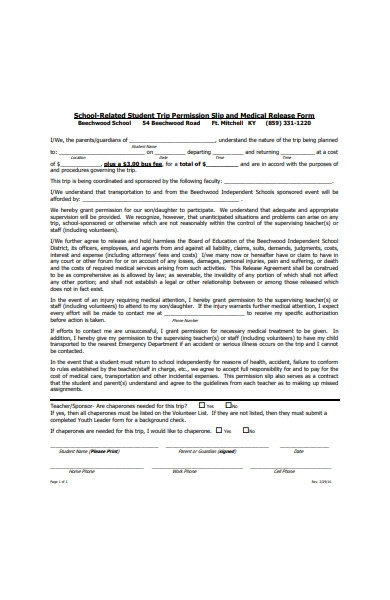 student trip permission slip and medical release form