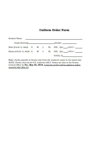 student uniform order form