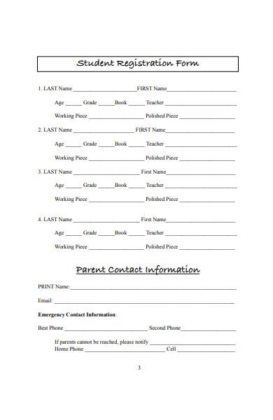 student workshop registration form