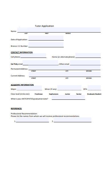 subject tutor application form