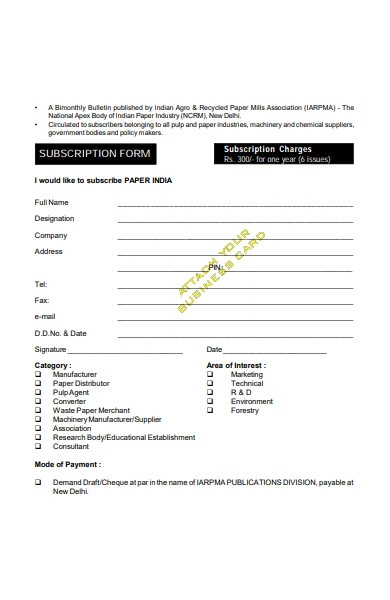 subscriber form in pdf
