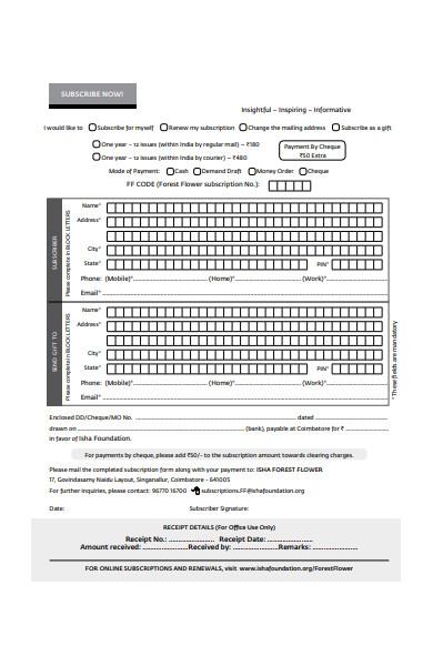 subscription form format