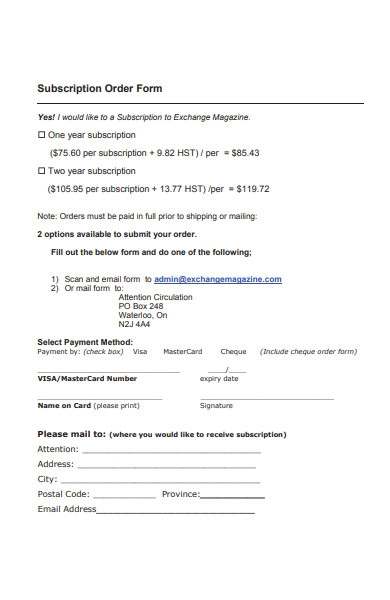 subscription order form format