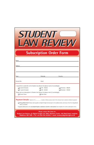 subscription order form sample