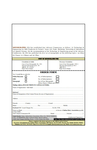subscription order form in pdf
