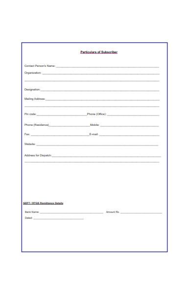 subscription order form