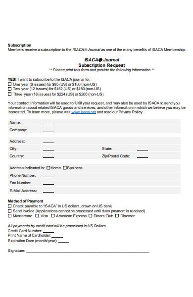 subscription request form