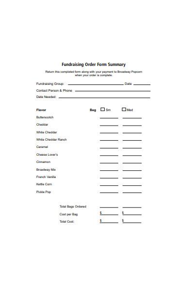 summary fundraising order form