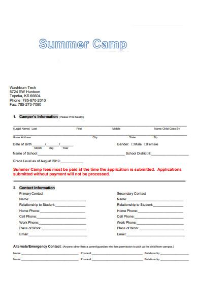 summer camp application form sample