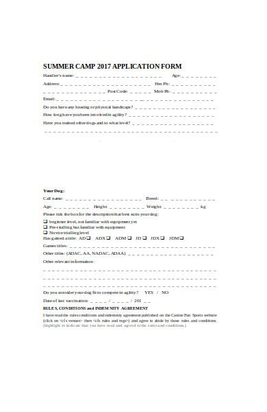 summer camp event application form