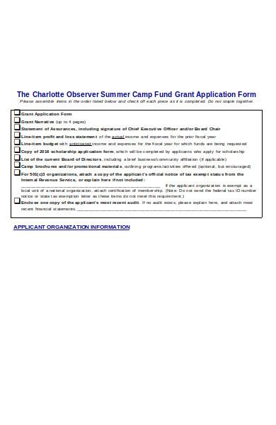 summer camp fund application form