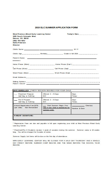 summer camp learning application form