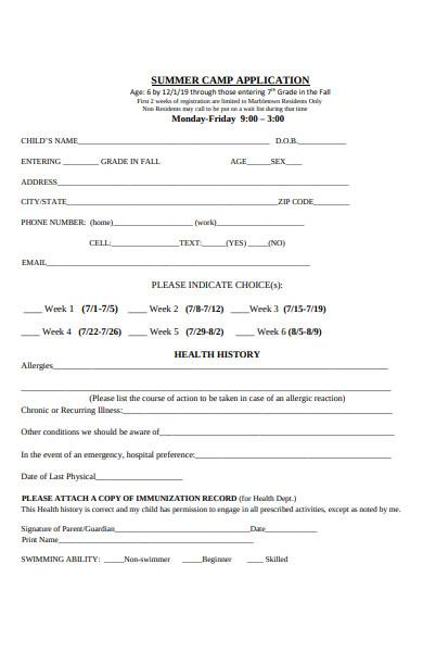 summer camp release application form