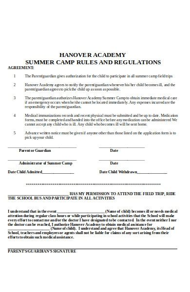summer camp rules application form