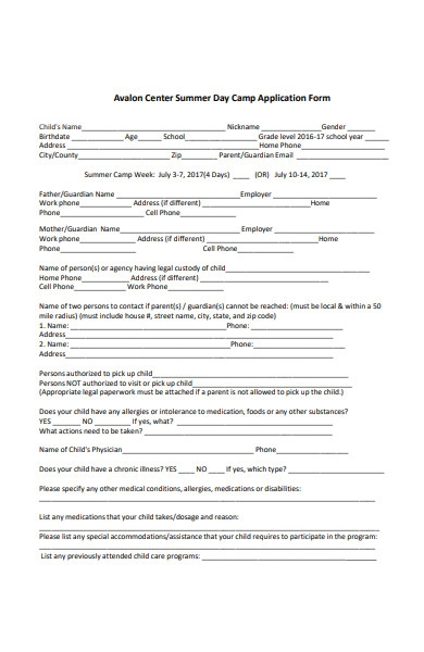 summer day camp application form