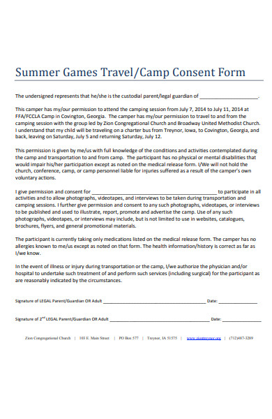 summer games travel consent form