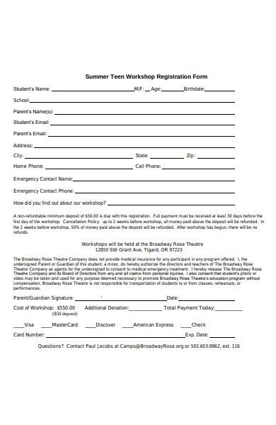 summer teen workshop registration form
