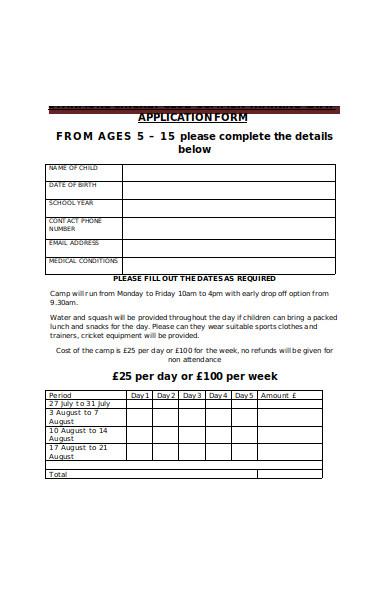 summer training camp application form