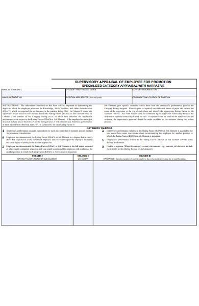 supervisory appraisal of promotion form