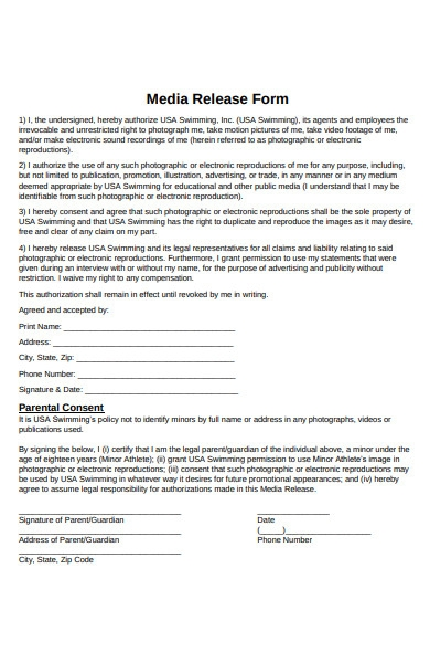 swimming media release form