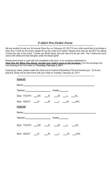 t shirt pre order form
