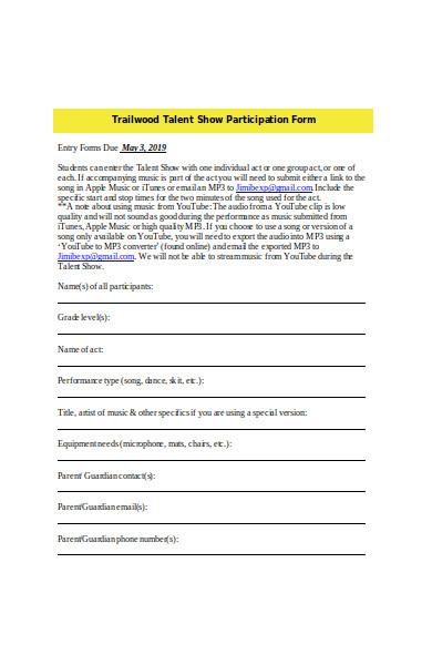 talent show participation form