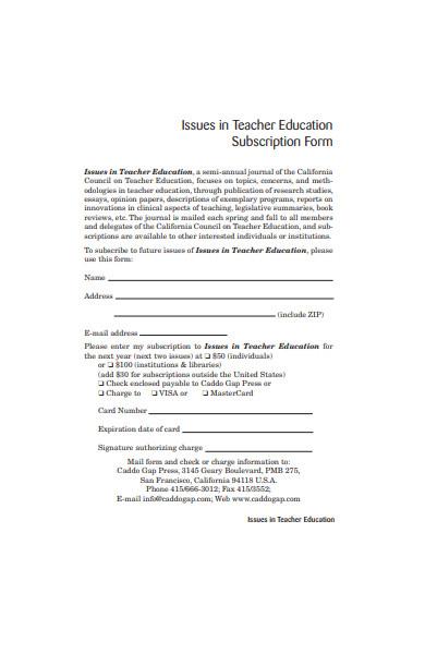 teacher education subscription form