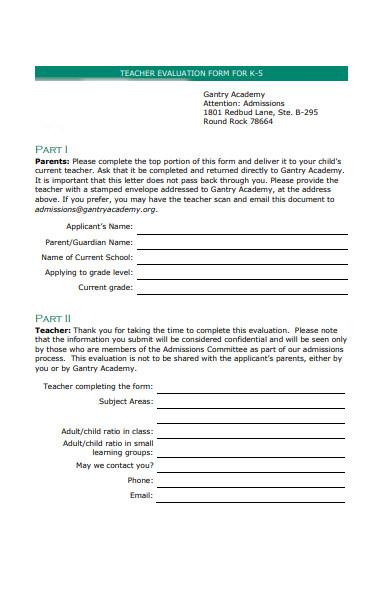 teacher evaluation form sample