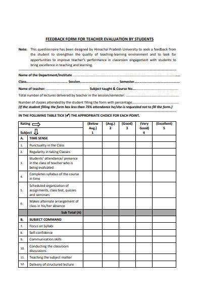 teacher evaluation student feedback form