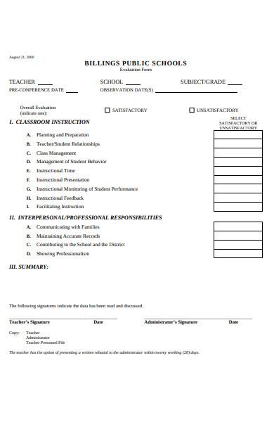 teacher performance evaluation form