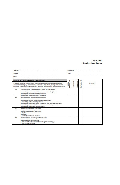 teacher system evaluation form