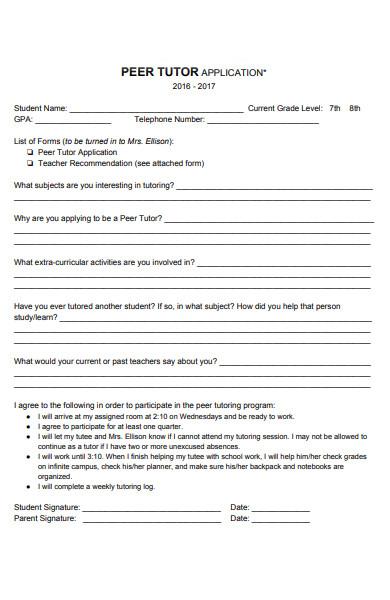 teacher tutor application form