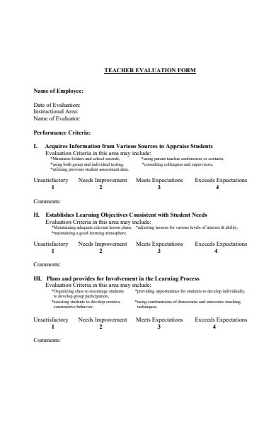 teachers evaluation form sample