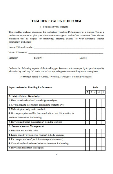 teachers evaluation form template