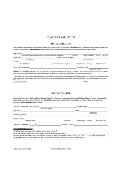 teachers evaluation form in pdf