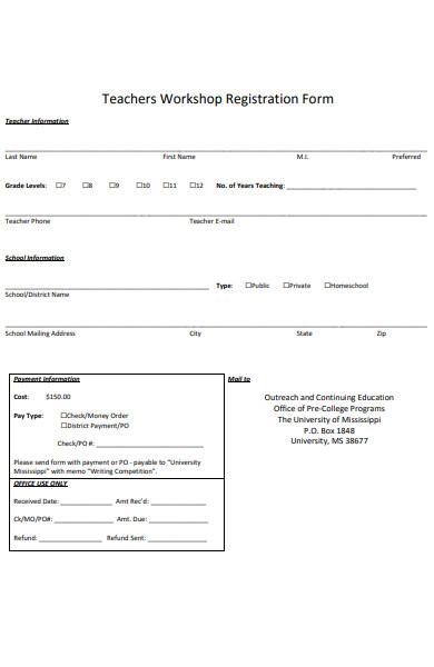 teachers workshop registration form