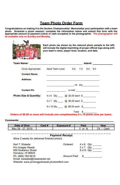 team photo order form in pdf
