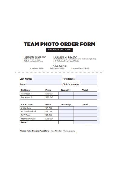 team photo order form