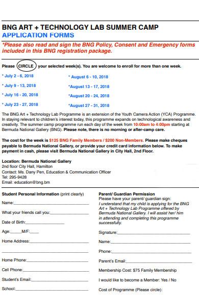 technology summer camp application form