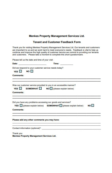 tenant and customer feedback form