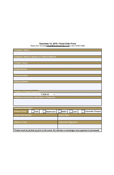 ticket order form template