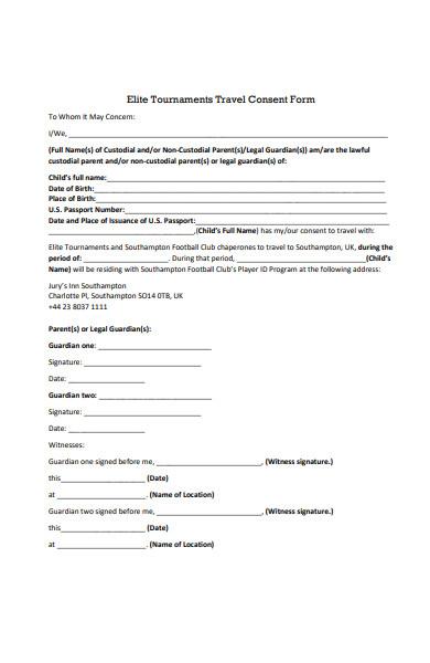 tournament travel consent form