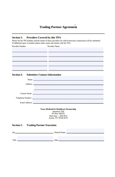 trading partnership agreement form