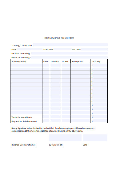 training approval request form