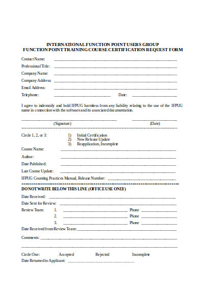training course certification request form