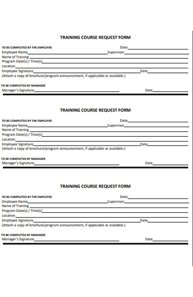 training course request form