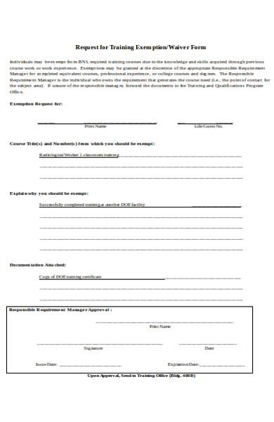 training exemption request form